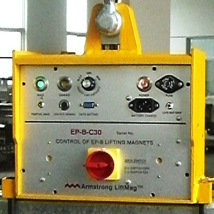 Control box for Armstrong Magnetics' battery activated electro permanent lifting magnet system