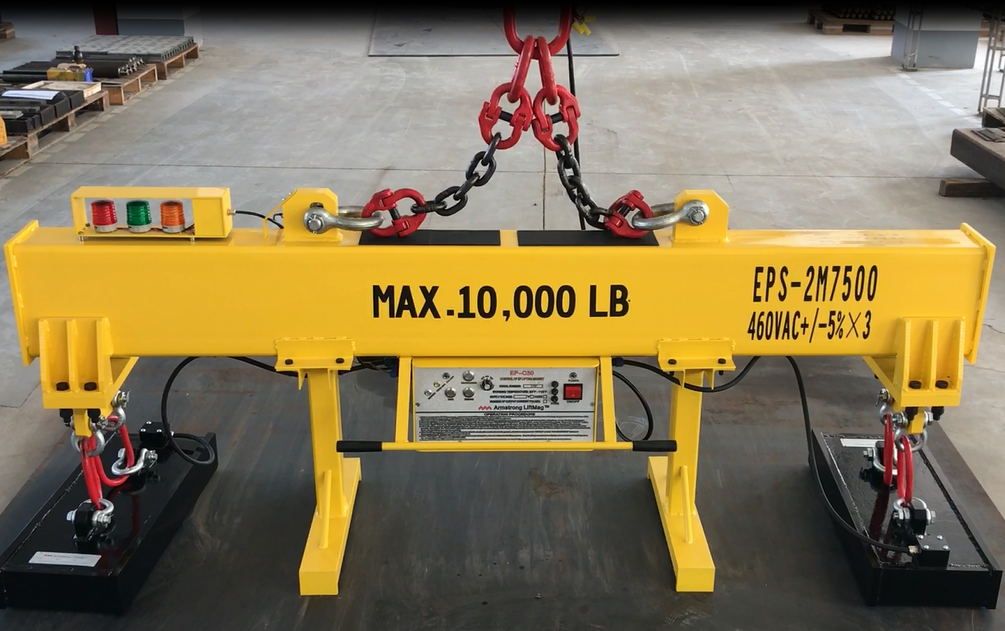 Electro permanent lifting magnet system with mains electrictiy activation