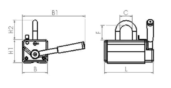 Engineering drawing for Armstrong Magnetics permanent lifting magnets NL-330B
