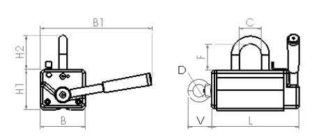 Engineering drawing for Armstrong Magnetics permanent lifting magnets NL-330BV